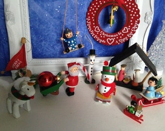 Vintage Wood Christmas Ornaments, Vintage Wooden Ornaments, Christmas Ornaments, Set of Ten