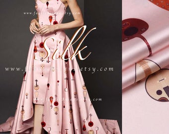 Music fabric Pink Silk Satin - buy printed silk