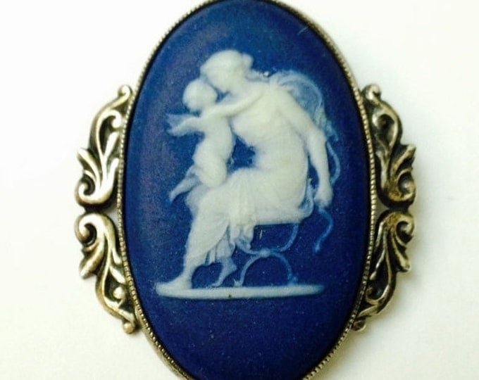 Storewide 25% Off SALE Vintage Silver Tone Wedgwood Signed Authentic Blue Jasperware Cameo Brooch Featuring Victorian Woman With Cherub Ange