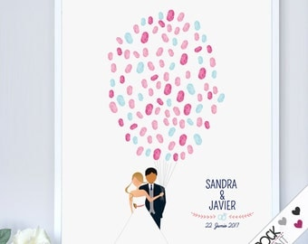 wedding fingerprint Guest Book / printable pdf / unique guestbook alternative idea couple balloon bridal shower tree ideas sign in board