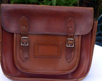 Vintage Leather Traditional School Satchel with Backpack Straps