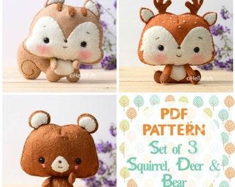 "PDF Pattern, Set of 3 ""Woodland Series Part 2: Squirrel, Deer, Bear"". Felt Woodland Animal Pattern, Felt plush."