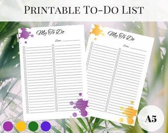 Kikki K Inserts, Printable To Do List, Printable Planner Pages A5, Planner To Do List, Printable Inserts, To Do Printable, Filofax Inserts