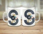 Monogram mug, Floral lett...