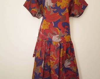 Vintage 1970s Evelyn De Jonge Deadstock New Old Stock New With Tags Floral Drop Waist Belted Dress