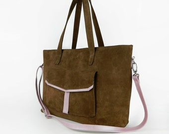 Genuine Leather Bag with zipper, Leather Tote bag, Shopper, Shoulder Bag
