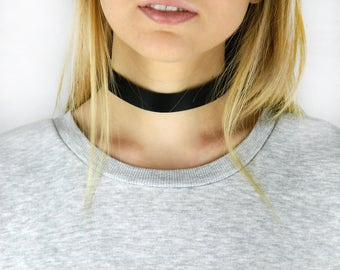 Choker, Leather Necklace, Black Choker