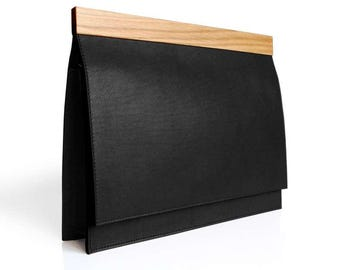 Lemnia Handcrafted Leather and Wood Bag - Black