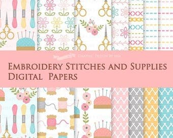 Embroidery Stitches and Supplies / Sewing Supplies / Stitches Digital Paper Pack - Instant Download - DP113