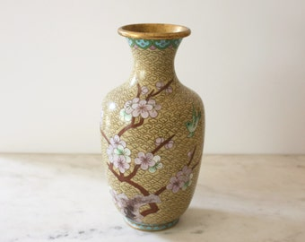 Little Yellow Cloisonné Vase with Cherry Blossoms and Birds