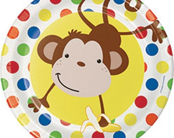 My Little Monkey party lunch plates / monkey theme / safari party / zoo party / zoo animals /monkey plates/ safari plates/ monkey party