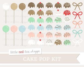 Cake Pop Kit Clipart, Cake Ball Clip Art Baking Frosting Sprinkles Treat Bakery Dessert Cute Digital Graphic Design Small Commercial Use