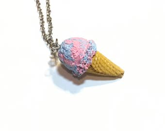 Miniature bubblegum ice cream cone necklace