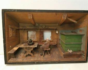 Antique German Diorama of a Pub Scene