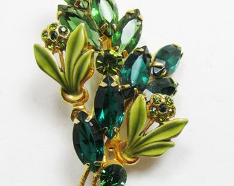 Enameled Vintage 1950s Gold Toned Shades of Green Rhinestone Floral Pin