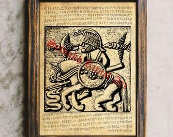Viking art, Nordic Warrior, Odin's Ravens Huginn and Muninn, Norse mythology print, Scandinavian poster #457