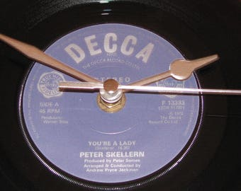 "Peter Skellern You're a lady  7"" vinyl record clock"