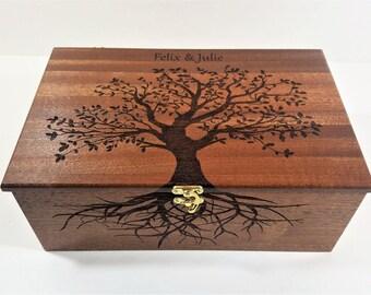 Personalized Tree of Life Memory Box 12x8x4, Custom Hand Made Wood Storage Box, Family Memory Box, Personalized Keep Sake Box
