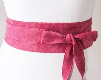 Pink Suede Obi Belt | Corset Waist Belt | Suede Obi Tie Belt | Real Suede Leather Belt| Pink Belt | Plus size belts | Sash Belt