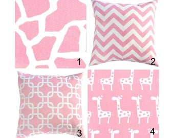 Baby Pink Pillow Cover.Chevron Pillow.Pink Nursery Pillow.Baby Girl Pillow.Pink Animal Print Pillow.Pink Giraffe Toss Pillow
