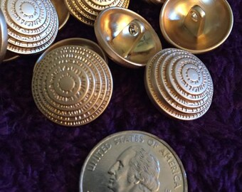 20mm gold tone metal shank buttons set of 10