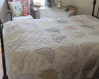Cozy Shabby Chic Vintage multicolored Butterfly Quilt TOP 60 X 80""