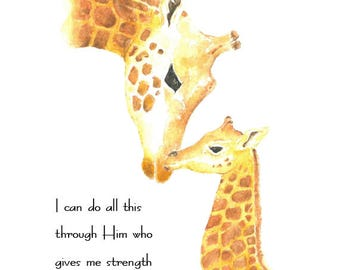 "Nursery Bible Verse ""I can do all this through Him who gives me strength"" Philipeans 4:13 Giraffe and Baby. Inspirational Scripture Art"