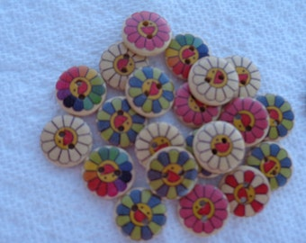 Flower Wood Buttons