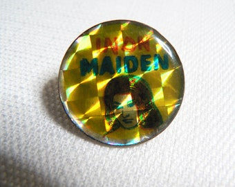 Vintage Early 80s Iron Maiden (?) INDN Maiden Hologram Band Pin / Button / Badge