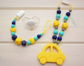 Silicone Teething Toy (Car) and Pacifier Clip/ Baby Carrier/Tula, Ergo, Lillebaby, Kinderpack, Beco, Boba