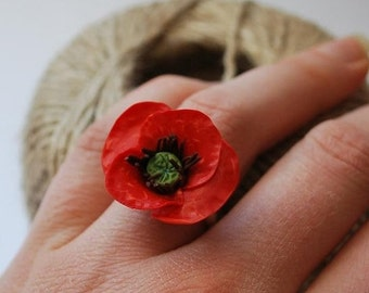 Red poppy ring Red flower adjustable ring by panarili floral jewelry floral ring red jewelry red flowers mother day gift for her red ring