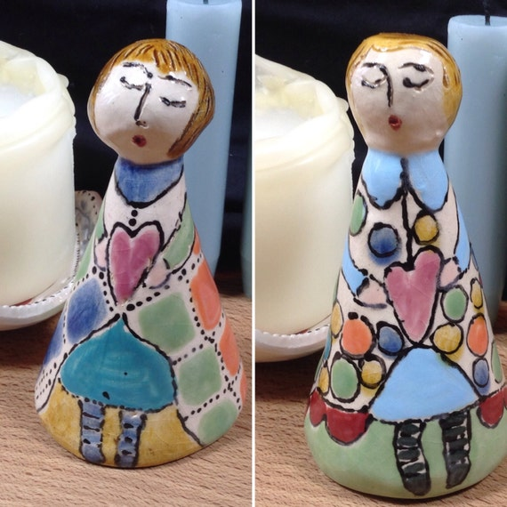 Candlesnuffer, ceramic, handmade, ornamental, colourful, folkart