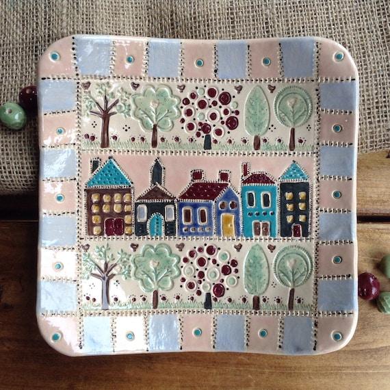 Handmade Ceramic Patchwork Platter