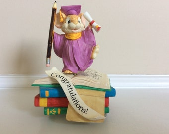 A Twirling Mouse on Top of School Books Holding a Pencil and a Diploma, San Francisco Music Box Co.