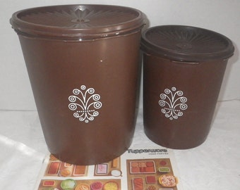 Tupperware Brown Servalier Canister #805-7 & #809-6