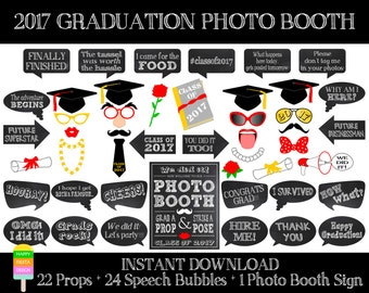 PRINTABLE Graduation Photo Booth Props 2017–Graduation Photo Booth Sign-Class of 2017 Props-Graduation Party Props-Instant Download-GP1