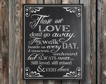 PRINTABLE Wedding Memorial Sign–Those We Love Don't Go Away-Wedding Chalkboard Sign- Wedding Sign-Memorial Chalkboard-Instant Download-TWL1