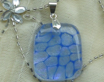 Fused Glass Pendant.  Blue Glass Pendant. Bubbles Fused Glass Necklace