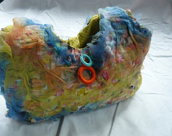 multicolored textile art bag