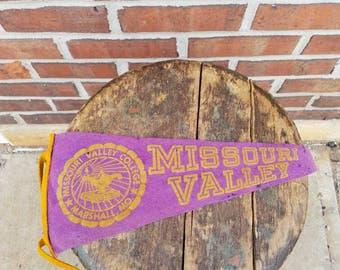 Vintage Missouri Valley College pennant
