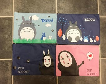 My neighbour Totoro & Spirited away Kaonashi no face mask Studio Ghibli A4 paper file document holder stationery pouch !