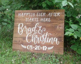 Welcome Wedding Sign // Happily Ever After Starts Here // Wood Entrance Sign