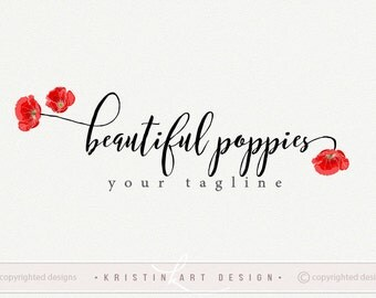 Poppy logo, Poppies watermake, Photography logo, Logo design, Flowers logo, Nature logo, Poppies, Red flowers, Watermark 542