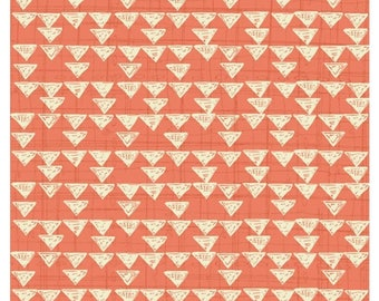 Sale Fabric Bloom Coral Geometric Fabric Yardage  By Quilting Treasures Fabric Sold By the Half Yard