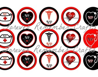 INSTANT DOWNLOAD NP Nurse Practitioner 1 Inch Bottle Cap Image Sheets *Digital Image* 4x6 Sheet With 15 Images
