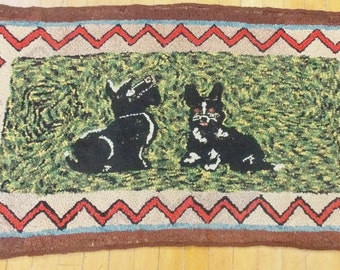 Vintage Hand Made Folk Art Hooked Rug with Scottie Dogs Design