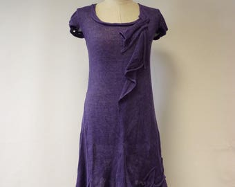 Special price, handmade knitted purple linen dress, M size.