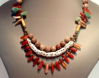 Ethnic necklace earth tones
