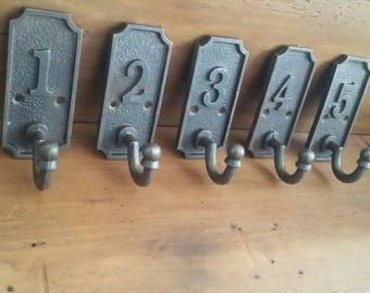 5 Numbered 1 to 5 Antique Iron Coat Hooks Pegs School Hooks Gift