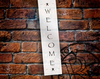 Welcome with Stars - Vertical - Word Art Stencil - Select Size - STCL1480 - by StudioR12